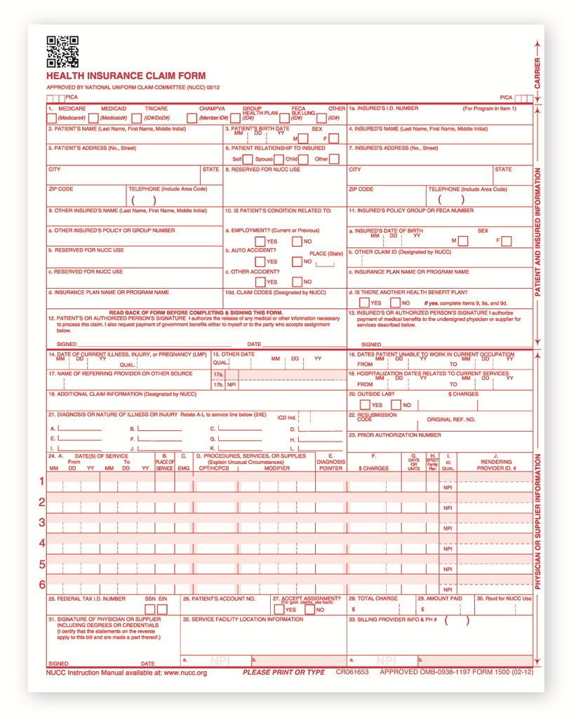 Hcfa forms cms 1500 medical forms health insurance claim forms hcfa forms altavistaventures Choice Image